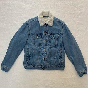 H&M furry jean jacket
